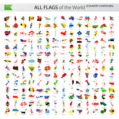 All World Vector Flags - Country Contours