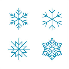 winter cold snow line icons set blue on white