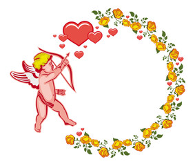 Elegant round frame with Cupid, yellow roses and hearts. Vector clip art.