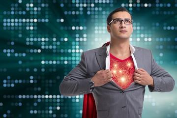 Superhero preparing himself for great things