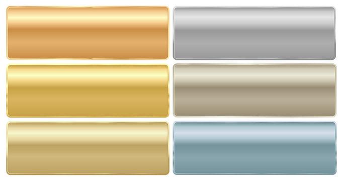 Vector set of long rectangular plates of different metals gold p