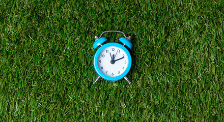 Blue little retro alarm clock on green grass background, above v