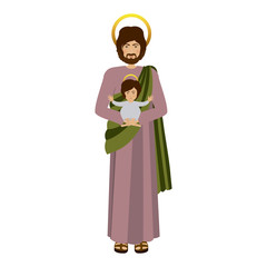 picture saint joseph with baby jesus vector illustration
