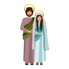 picture colorful virgin mary and saint joseph vector illustration