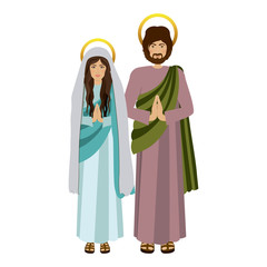 picture colorful virgin mary and saint joseph praying vector illustration vector illustration
