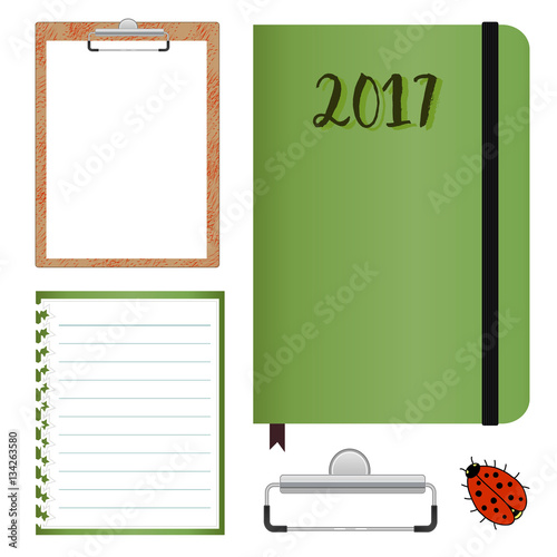stationery set with clipboard with lined paper vector mock up