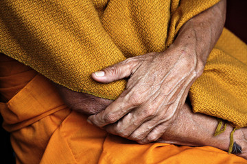A Buddhist monk's hands.