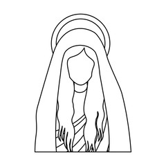 silhouette half body saint virgin mary vector illustration