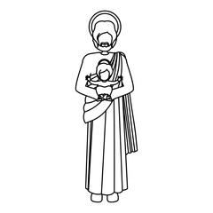 silhouette picture saint joseph with baby jesus vector illustration