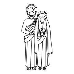 contour virgin mary and saint joseph vector illustration