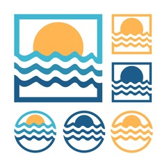 River Sunrise Design Logo Vector
