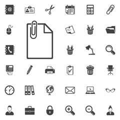 Paper clip and paper icon