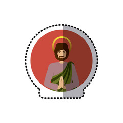 circular sticker with half body picture saint joseph praying