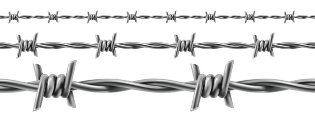 Barbed wire seamless, 3d vector
