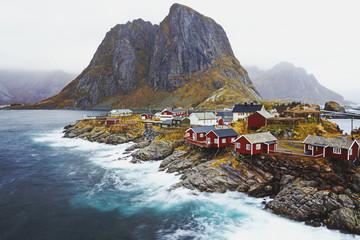 Scenic view of houses near seashore