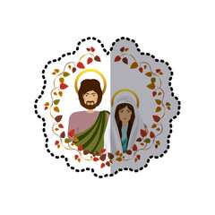 sticker ornament with leaves and half body picture colorful virgin mary and saint joseph vector illustration