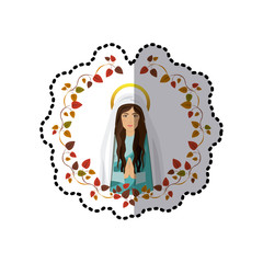 sticker ornament of leaves with half body saint virgin mary praying vector illustration
