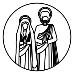 circular contour with virgin mary and saint joseph praying vector illustration