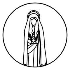 circular shape with contour figure of saint virgin maria vector illustration