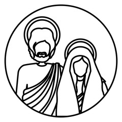 circular shape with silhouette half body virgin mary and saint joseph vector illustration