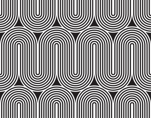 Vector seamless pattern. Modern stylish texture. Geometric striped ornament. Monochrome linear weaving.