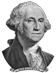 US President George Washington face on one USA dollar bill macro isolated, 1 usd, United States of America money closeup
