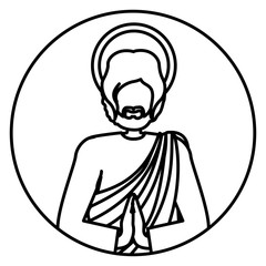 circular shape with contour of half body picture saint joseph praying vector illustration