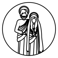 circular shape with contour virgin mary and saint joseph vector illustration