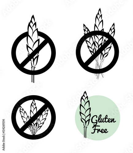 Vector Set Of Four Gluten Free Symbols With Banned Wheat Heads Icon