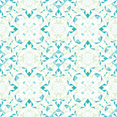 Vector Modern White Blue Green Abstract Geometric Textured Seamless Pattern Background. Great for elegant texture fabric, cards, wedding invitations, wallpaper, floor tile.