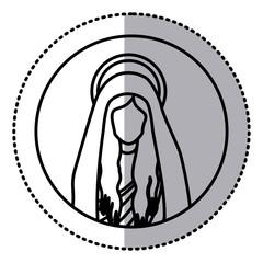 circular sticker with silhouette half body saint virgin mary vector illustration