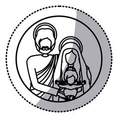 circular sticker with silhouette half body picture of sacred family vector illustration