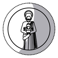 circular sticker with silhouette of saint joseph with baby jesus vector illustration