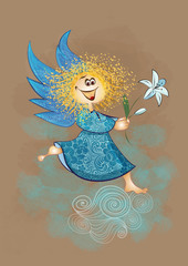 The Angel of the Annunciation. Angel with a lily. Children illus