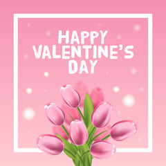 Valentines day greeting card with tulips flowers and frame. Vector illustration