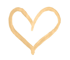 The outline of the beige heart drawn with paint on white background