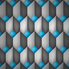Volume realistic vector texture, diamonds, geometric pattern, gray cubes with blue bottom