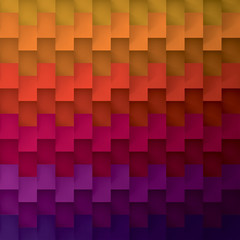 Volume realistic vector geometric rainbow texture, cubes, steps pattern, design wallpaper