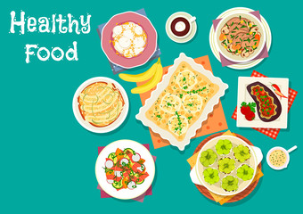 Healthy meat dishes with fruit desserts icon