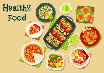 Tasty food for breakfast menu icon design