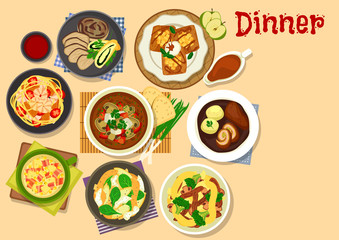 Healthy dinner icon for cafe menu design