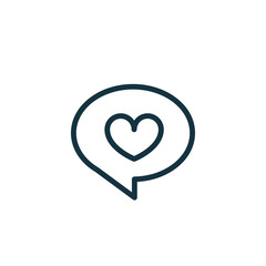 speech bubble with heart thin, line icon on white background; is