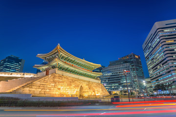 Namdaemun Gate and Seoul city skyline at night, Seoul, South Korea