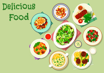 Comfort food for dinner menu icon design