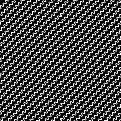 Black diagonal lines seamless pattern. Wavy, zigzag distorted li