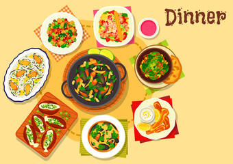 Seafood dishes with salads icon for menu design