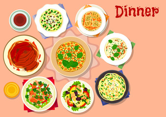Dinner dishes with dessert icon for menu design