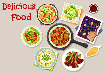 Lunch dishes with salads icon for menu design