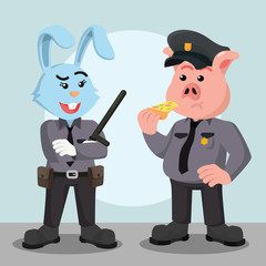 fat police pig officer with woman police rabbit officer