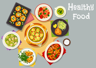 Healthy food dishes icon for lunch menu design